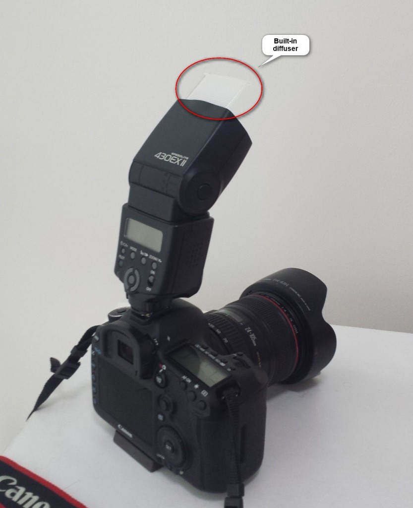 <i>External flash unit with reflector (built-in diffuser).</i>