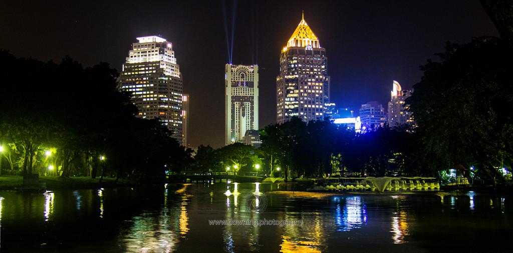 Skyline from Lumphini Park, Bangkok Thailand